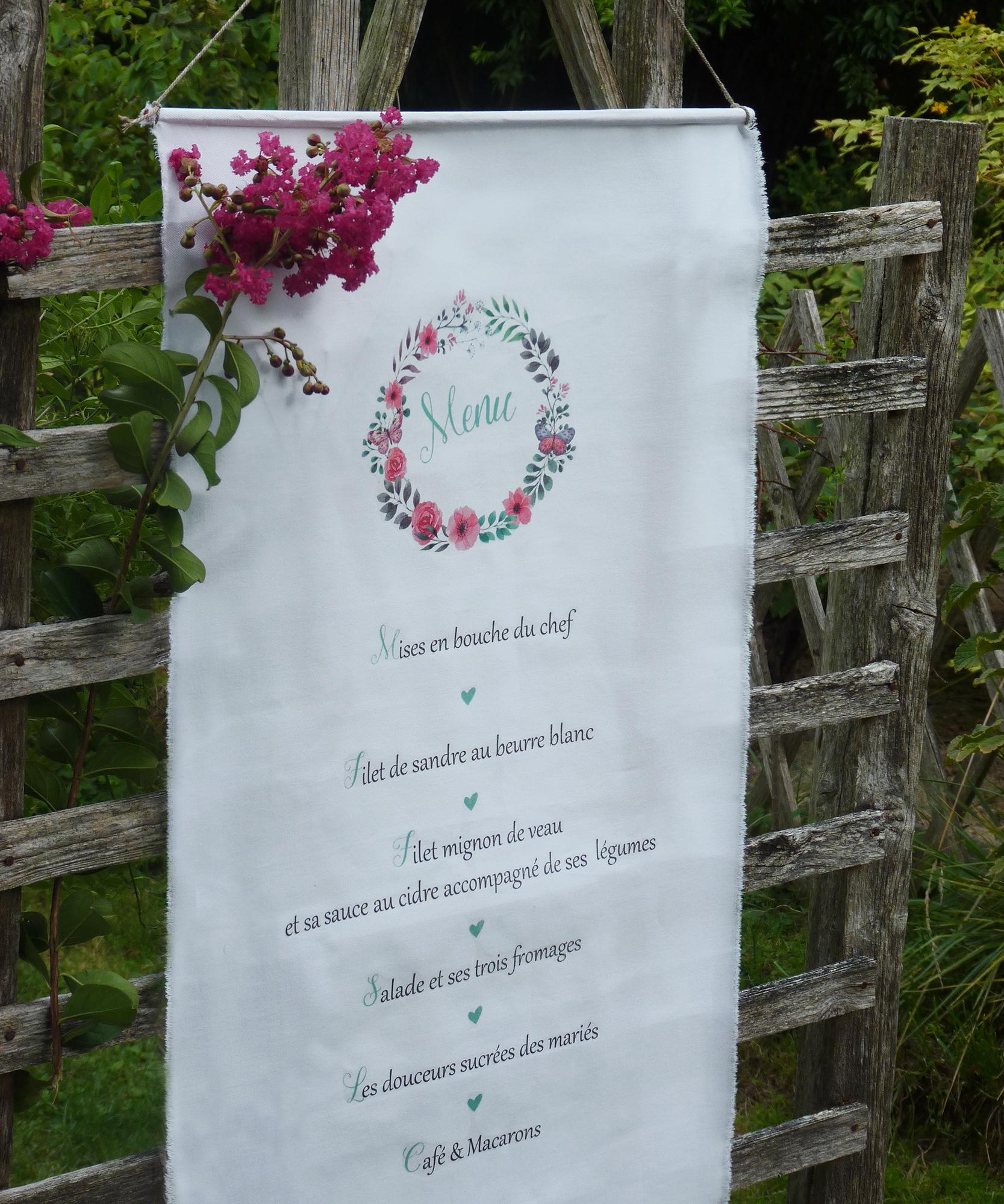 menu tissu mariage